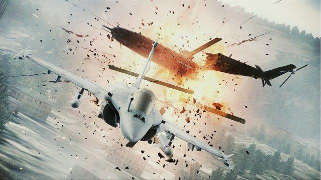 Erfolgreiche Abschüsse werden von krachigen Explosionen begleitet.