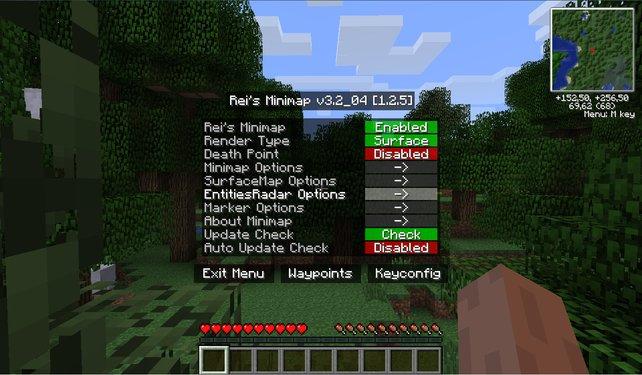 """""""Rei's Minimap"""" blendet eine Karte in der rechten oberen Ecke ein. Mit Taste M gelangt ihr in das Optionsmenü."""