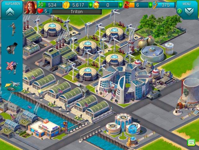 Die eigene Militärbasis erweitert ihr stückchenweise mit Kasernen, Fabriken und Kantinen.