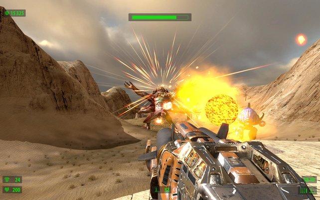 Der erste große Gegner, gut, dass wir den Raketenwerfer endlich haben.