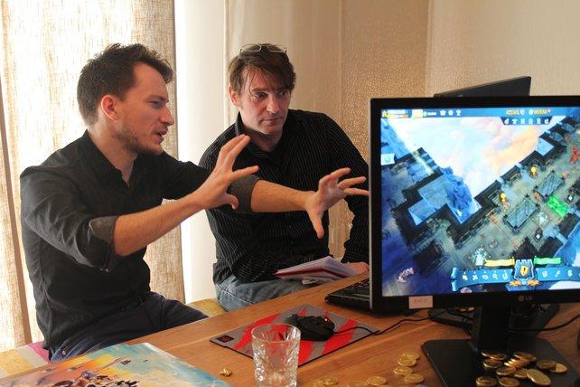 Christophe Grandjean von Ubisoft Montreal zeigt spieletipps Redakteur Ulrich die fiesen Fallen.