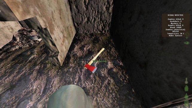 Die Axt dient nicht nur als Waffe, sondern hilft euch auch beim Spalten von Brennholz.