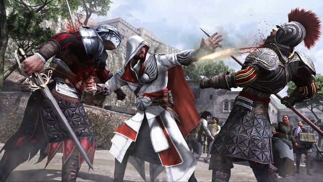 Ezio hat neue Waffen am Start.