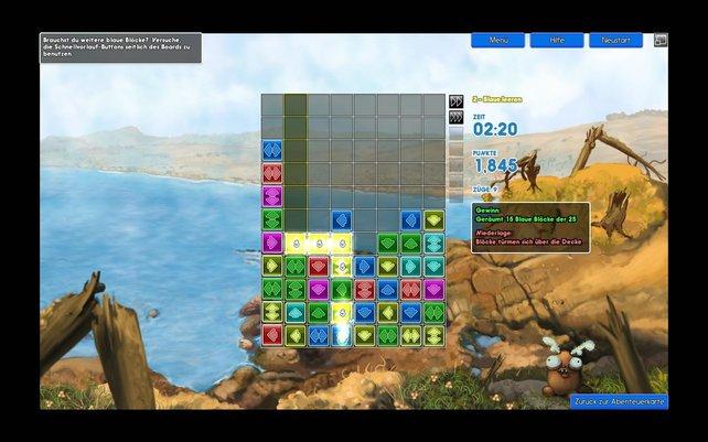 Mit einem Energiestrahl löst der Spieler hier gelbe Blöcke auf.
