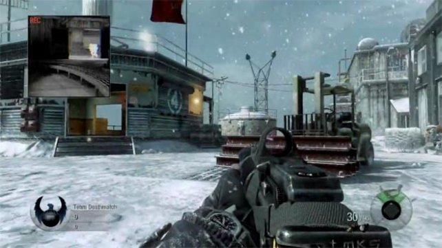 Dichtes Schneetreiben bei einer Schießerei.