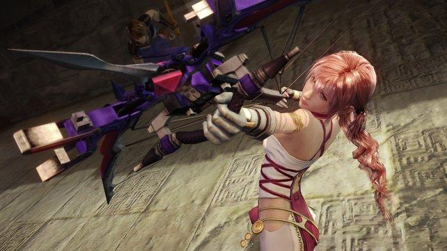 Hauptfigur Serah kämpft mit dem Bogen.
