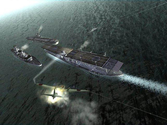 Eine typische Pazifik-Mission: Zeros beharken träge Träger.