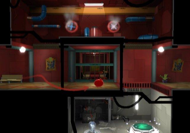 In Gebäuden wird das Spiel zum seitwärts Scroller.