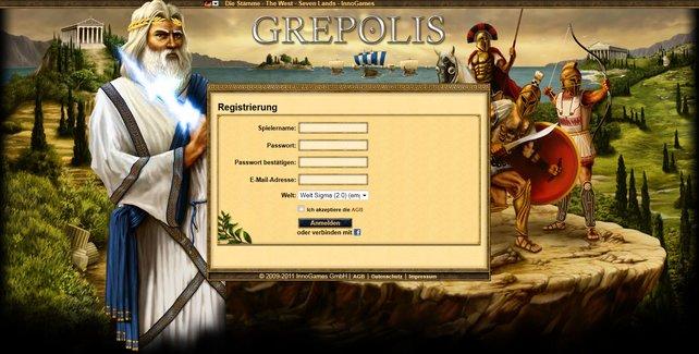 Die kostenlose Registrierung bei Grepolis ist simpel.