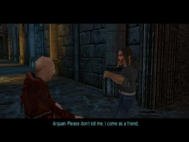 Arquan begegnet einem zu Beginn des Spiels