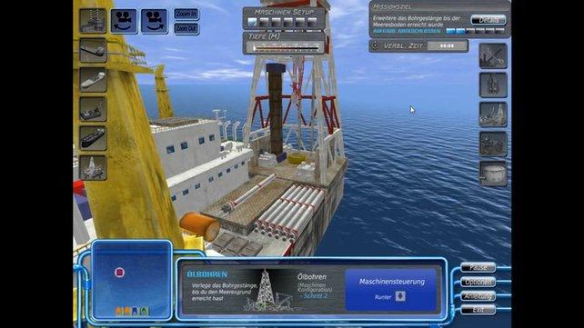 Hier fördert ihr das Öl. Statt euch mit dem Erlös in die Karibik abzusetzen, baut ihr mehr Plattformen. Schade.