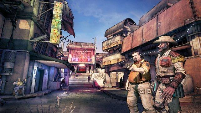 Bis zu vier Spieler zocken den Comic-Shooter Borderlands 2 im kooperativen Spiel.
