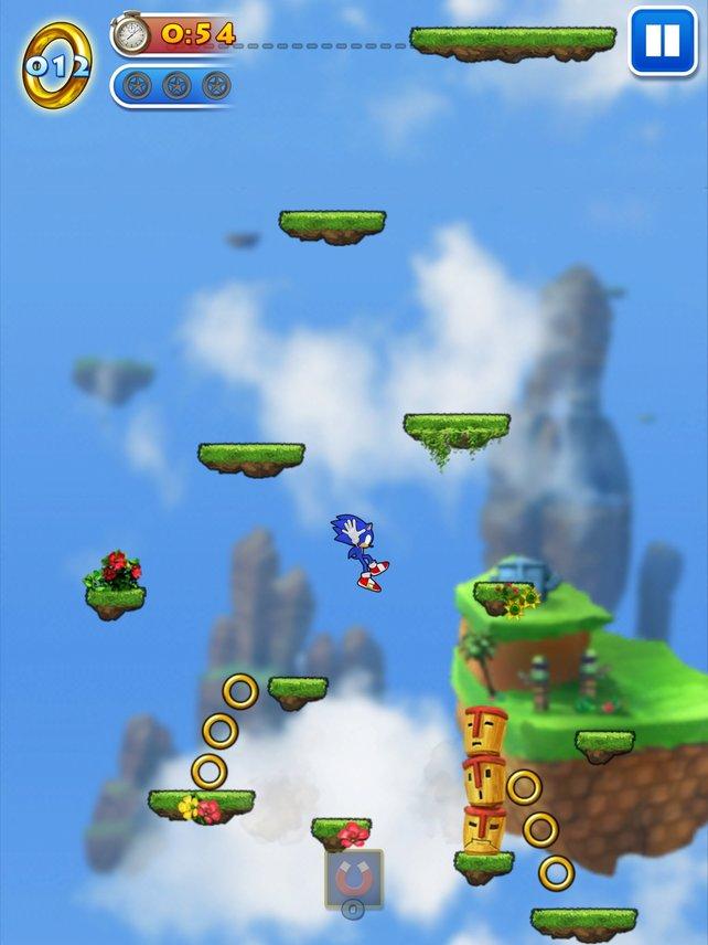 Dauerhüpfer: Sonic springt ohne Pause immer höher von Plattform zu Plattform.