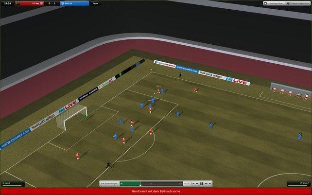 """Sieht wie """"Sensible Soccer"""" aus, ist aber die 3D-Darstellung des Spieltages."""