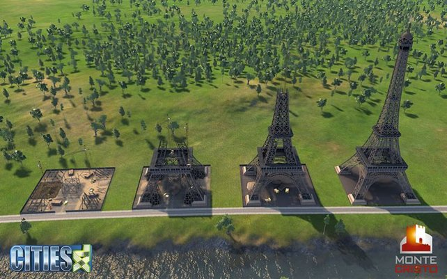 Die Baustufen des Eiffelturms im Spiel.