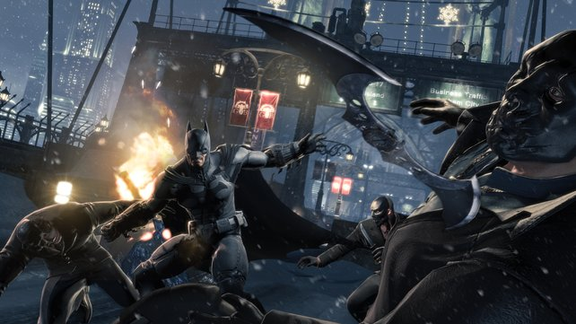 Gruppenkeile: Im Mehrspieler-Modus legen sich Batman und Robin mit den Truppen des Jokers und Bane an.