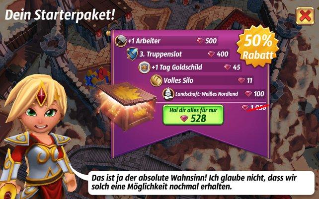 Das Spiel will euch In-App-Käufe auch mit Rabatten schmackhaft machen.