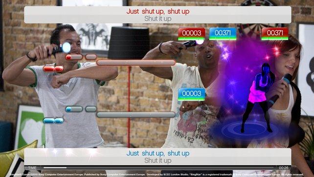 Zwei Sänger und ein Tänzer kämpfen um die High-Scores.