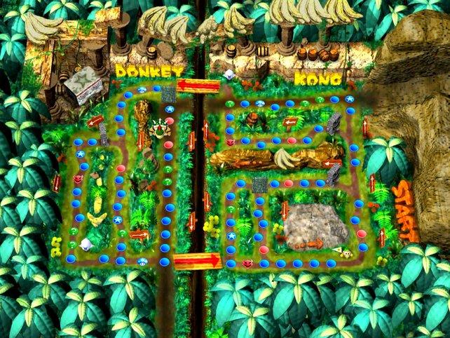 Donkey Kongs Dschungel-Abenteuer. Eines der Spielbretter bei der ersten Mario-Party.