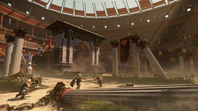 Die Bauten und Umgebung der Kampfarena verändern sich mit jeder Runde.