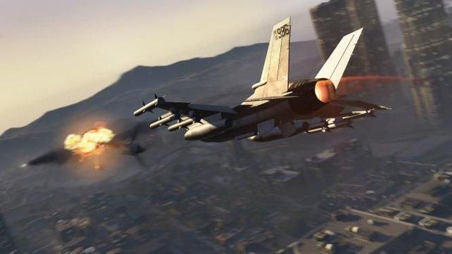 In GTA Online könnt ihr euch spannende Luftkämpfe liefern.