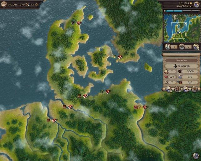 Auf der unspektakulären Weltkarte verbringt ihr die meiste Zeit des Spieles.