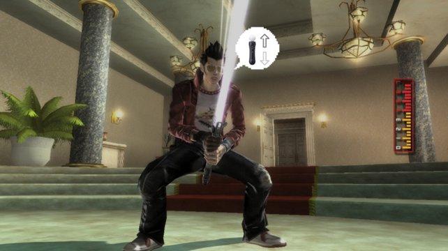 Um das Schwert aufzuladen, bewegt ihr eure Hand schnell hoch und herunter. So, so.