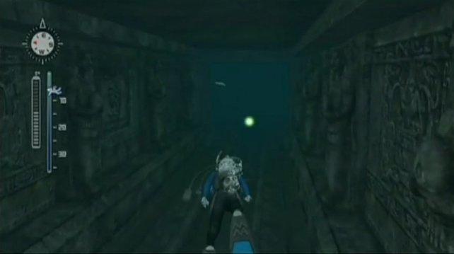 Auch versunkene Tempel dürfen durchtaucht werden.
