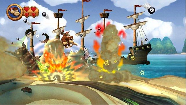 Grafisch entzückt der Affenhüpfer mit sauberen Animationen und viel Krachbumm.