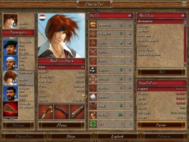 Der Charakterbildschirm