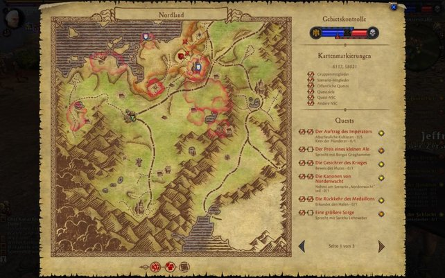 Die Map ist hervorragend gelungen und zeigt rot umrandet alle Questgebiete an