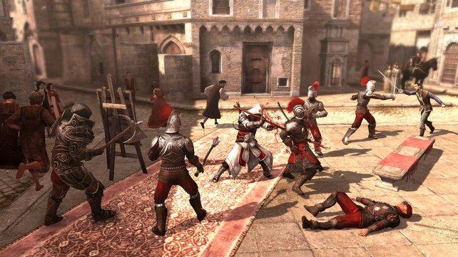 Ezio kennt keine Gnade und nimmt es auch mit einem halben Dutzend Gegnern gleichzeitig auf.