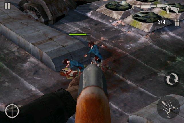 Ballern was das Zeug hält - mit der Schrotflinte befreit ihr eure Partnerin schnell von den Zombies.