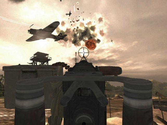 Mit dem MG holen wir Flugzeuge von Himmel