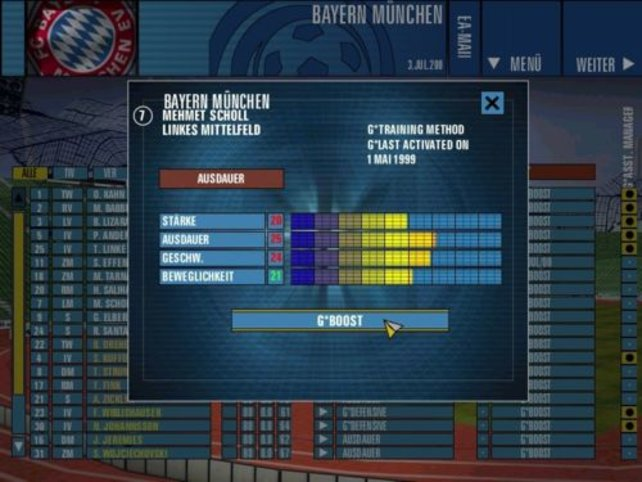 Man hat im Boost - Bildschirm die Möglichkeit, die Spieler besonders anzuspornen