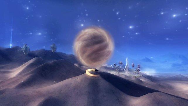 Der kleine, schwarze Ball seid ihr, der Odem. Hier sammelt er gerade Sand in einer Kugel über sich.