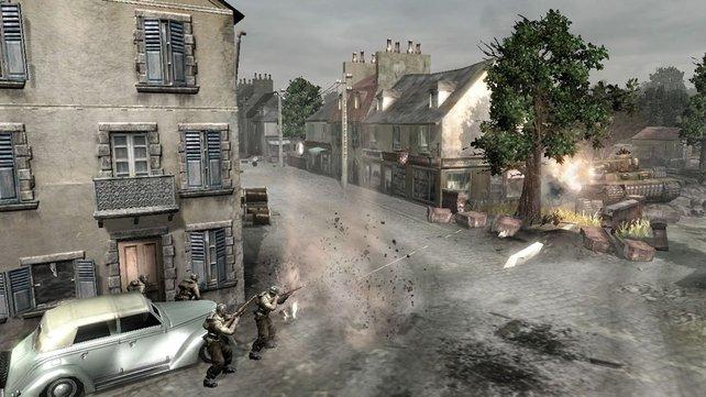 Unsere Truppen kämpfen sich durch die Stadt.