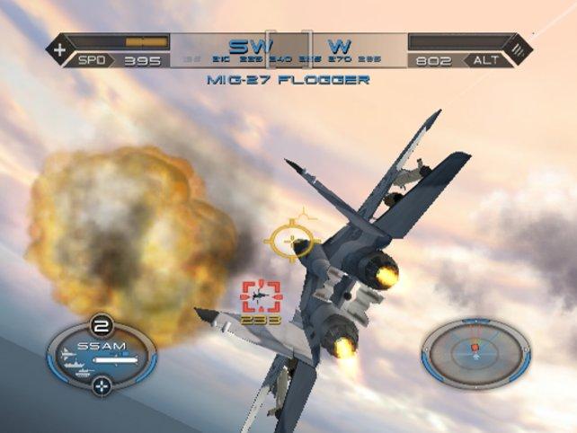 """Hinter der Explosion visiert unser Autopilot gleich das nächste """"Wreck to be"""" an."""