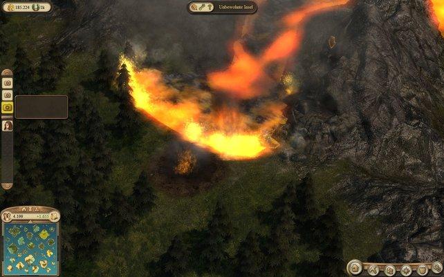 Die Lava frisst sich durch alles, was ihr im Weg steht.