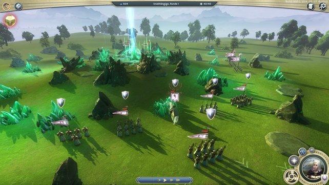 Hier seht ihr den Kampf um eine Mana-Quelle. Im Hintergrund schickt die Quelle einen blauen Lichtstrahl in den Himmel.