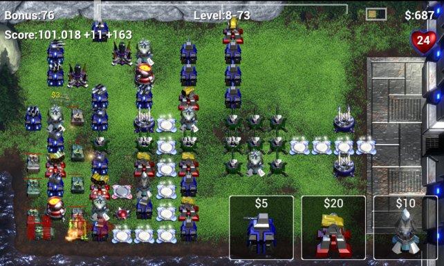 Robo Defense ist von der Spielmechanik her ein klassisches Tower-Defense-Spiel.