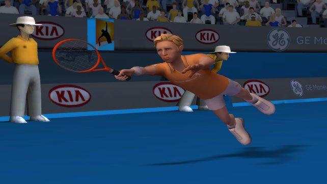 Boris Becker mit seinem typischen Hechtsprung