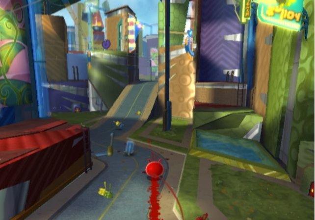 Dort wo sich Blob bewegt, färbt er gleichzeitig den Untergrund ein.