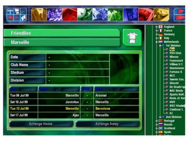 In diesem Bildschirm vereinbart man Freundschaftsspiele.