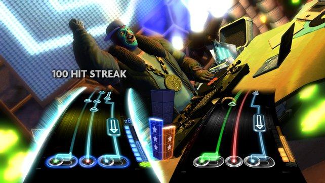 100 richtige Noten in Folge in der DJ Battle: Der Sieg ist nahe.