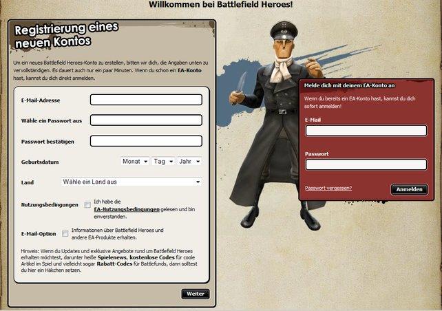 Die Anmeldung kann auch mit einem vorhandenen EA-Account von einem anderen Spiel erfolgen.