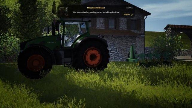 Kuppelt den Pflug an den Traktor und schon geht der Spaß los.