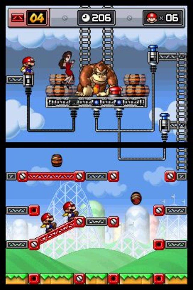 Das Abschluss-Level aus der ersten Welt, drei Mini-Marios sollen drei Sprungfedern erreichen.