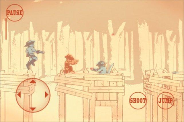 Gunman Clive hüpft und ballert sich durch die stilechte Zeichen-Grafik.