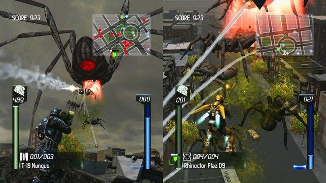 Bewährt und übersichtlich: das Spiel am geteiltem Bildschirm.